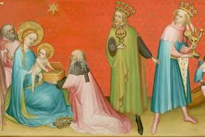 Adoration of the Magi w. St. Anthony Abbot (detail) Unknown Franco-Flemish artist, Burgundy c. 1390-1410